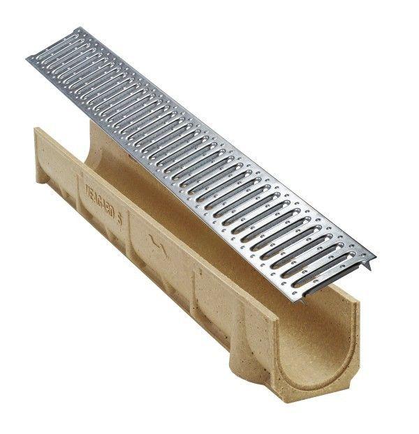 Odtokový žlab s ocelovou mřížkou SELF Line šířka 100 výška 80 mm Ronn Drain complet